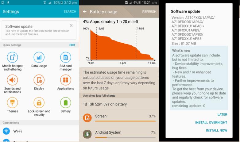 Samsung Galaxy A7 software